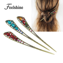 Feelshine Bohemian Style Hair Jewelry Red Blue Colorful Beads Geometric Hair Sticks Hairwear Fashion Accessories For Women(China)