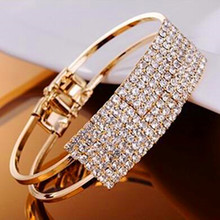 Hot Sales Fashion Korea sweet Hollow out rhinestone bracelet bangle jewelry-CRYSTAL SHOP Free shipping