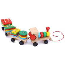 2016 New Arrival 1 Set Educational Wooden Toys Multicolor Stacking Train Blocks Early Learning Toys Children Christmas Gift(China)
