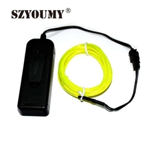 SZYOUMY 100pcs DHL High Quality 1M 10 Colors Flexible EL Wire Flash Neon Glow Light With 3V controller EL Wire