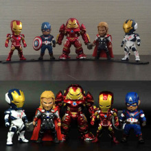Full Set No Light Age of Ultron Marvel Avengers Action Figure Iron Man Thor Hulkbuster America Captain Model Toy Gift Collection