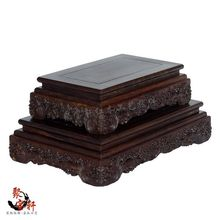 Square base of red sandalwood wood carving household act the role ofing is tasted stone Buddha vase flowerpot
