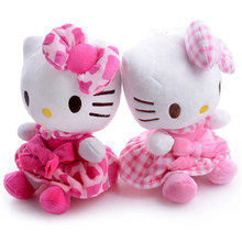 Plush Doll Hello Kitty Plush Pink Grid Skirts Hello Kitty Cat with Bow Sucker Hang Kids for Girls Gifts Doll Toy 7'' Brand New(China)