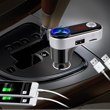 Hot Wireless FM Transmitter Bluetooth Car Kit MP3 Player FM Modulator Handsfree Car Cigarette Lighter With Mic LCD 2.1A Dual USB(China)