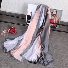 Luxury Real Silk Scarf Women Brand Long Scarves Fashion Patchwork Color Foulard Smooth Soft Echarpe Wraps Summer Beach Cover Up(China)