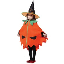 Hot sale new Halloween Cosplay Performance Witch Costume Children's Christmas orange Pumpkin Princess Cloak Skirt +hat set(China)