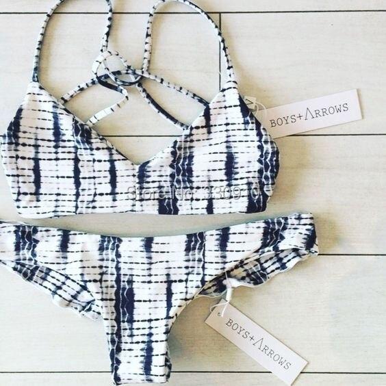 Sexy Women New Washed Tie Dye Bikini Set Swimsuit Padded Print Bandage Triangle Beachwear Swimwear<br><br>Aliexpress