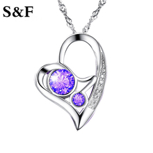 Vintage White Purple Crystals Love Heart Necklaces & Pendants for Women Fashion Jewelry Birthday Best Friends Gifts 2017 Hotsale