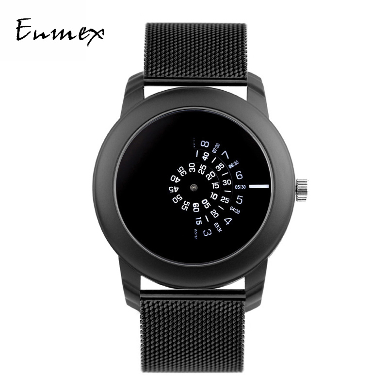 Enmex Men Wristwatch Concept Creative-Style Black Quartz Stainless-Steel Casual Camera title=