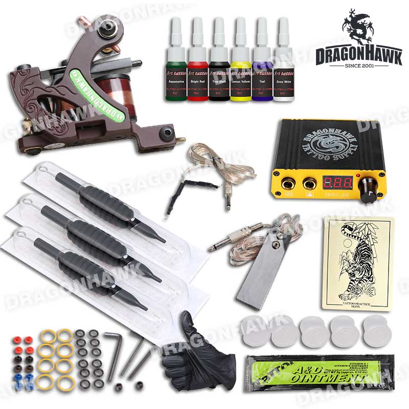 Top Selling Complete Tattoo Kit Set Professional Tattoo Machine For Lining Mini Power Needles Grips Supplies<br>