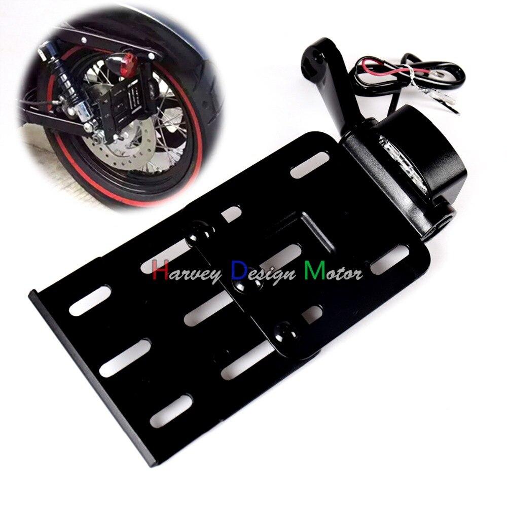Black Telescopic Folding LED Light Side Mount License Plate for Genuine Harley 2004UP Sportster XL 883 1200 48 <br>