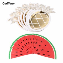 OurWarm Disposable Tableware Party Paper Plates Napkins Straws Pineapple Flamingo Birthday Party Supplies Wedding Decoration(China)