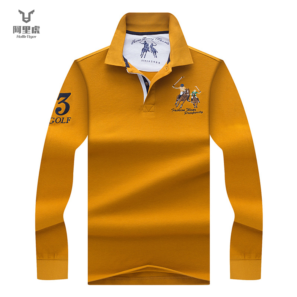 Hollirtiger Yellow Men 2019 Fashion Camisa Polo Shirts Long Sleeve Mens Polo Collar Shirt Brands Breathable Men's Tee Tops