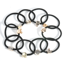 10pcs/lot Black Colored Pendant hairband Hair Holders High Quality Rubber Bands Hair Elastics Accessories Girl Women