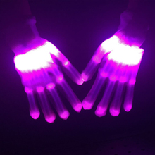 1 Pair of Colorful LED Luminous Gloves Rave Lighting Flashing Finger Glove Unisex Skeleton Dancing Club Props Party 3 styles(China)