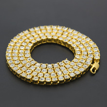 2018 Men's Hip Hop Bling Bling Iced Out Tennis Chain 1 Row Necklaces Luxury Brand Gold Men Chain(China)