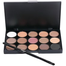 2016 Hot Sale 15 Multi-color Beauty Girl No Poison Profession Makeup Neutral Eye Shadow Palette With Pony Brush
