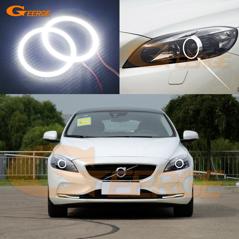 For Volvo V40 2015 2016 Xenon headlight Excellent Angel Eyes Ultra bright illumination smd led Angel Eyes Halo Ring kit<br>