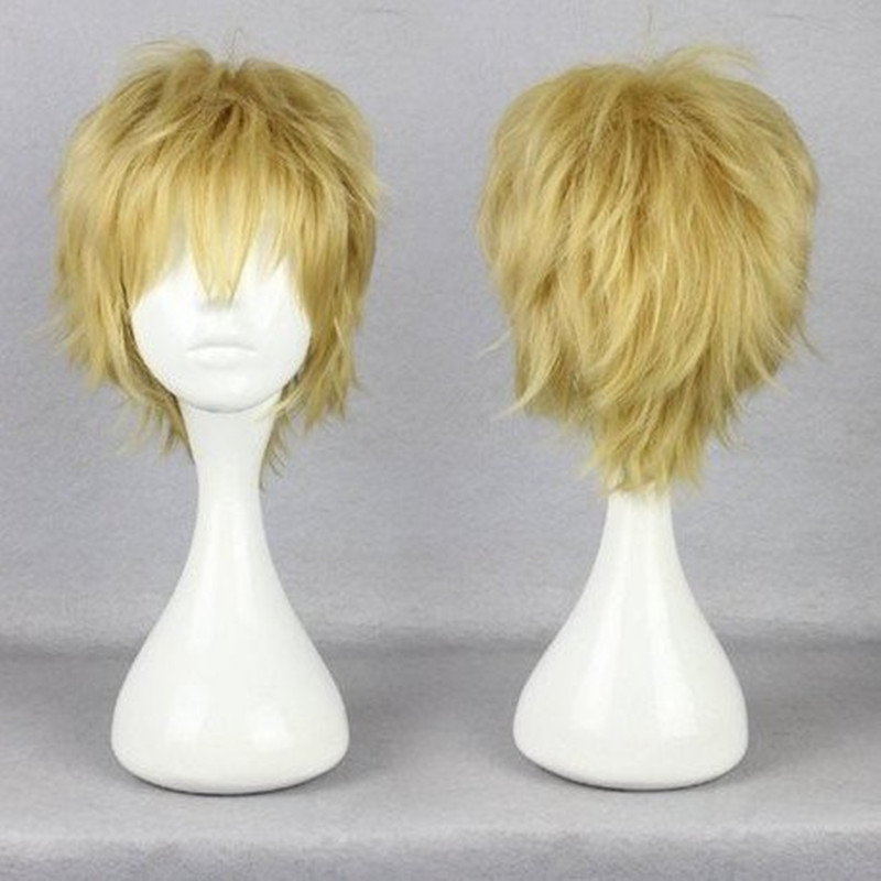 HAIRJOY 35CM Cheap  Blonde Cosplay Wig Male Haircut Short Layered Hairstyles Kagerou Project Kano Shuuya Natural Hair Wigs<br><br>Aliexpress