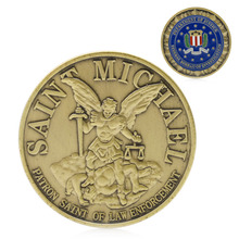 OOTDTY Coins Saint Michael Patron Stint of Law Enforcement Commemorative Challenge Coin Art