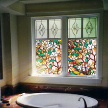 1Pcs Waterproof PVC Static Cling Painted Orchid Pattern Window Glass Film Home Room DIY Decor Multi-Color 100*45cm UV protect(China)
