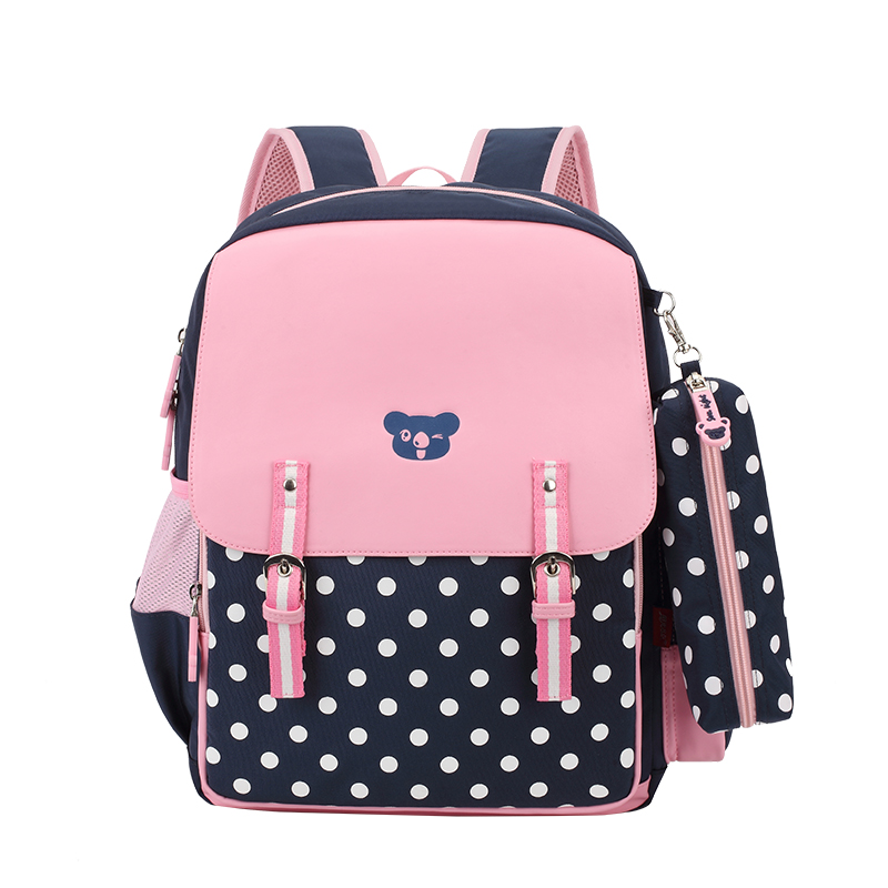 korean style candy color bag pink PU leather school bags for girls polka dot kids backpack waterproof bagpack cute pencil case<br><br>Aliexpress