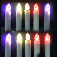 10pcs set Battery operated Flameless Led colorful candle lights Christmas Church Wedding decor(China)