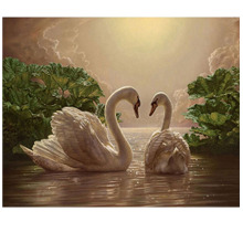 Lover two swan picture 5d diy diamond painting cross stitch animals round diamond embroidery mosaic pattern wedding decor(China)