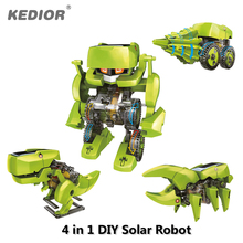 4 in 1 DIY Educational Solar Powered Robot Kit Assembling Science Toys for Children Dinosaur Insect Creative Electric Toy Gifts