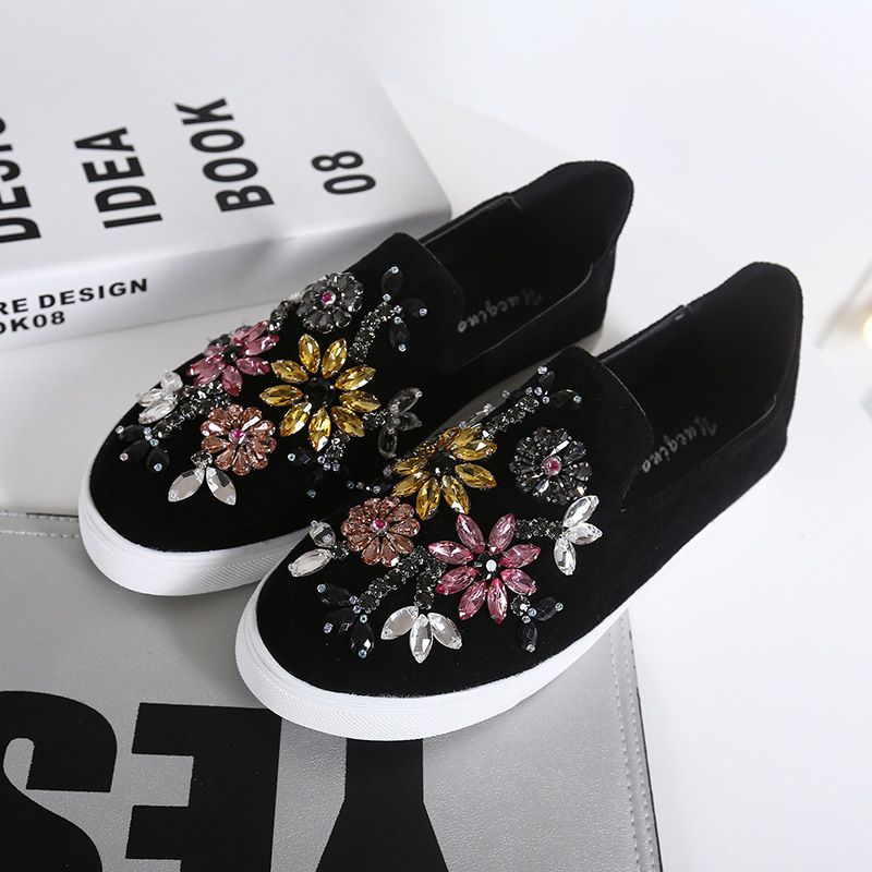 Fashion loafers Colorful crystal casual shoes Rhinestone lazy shoes creepers Comfortably Anti-skid women Flats zapatos mujer<br>
