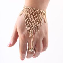 New Hot sale A Pair Belly Dance Jewelry tassels Bracelet Hand Chain Nail Cover Metal Chain Finger Set girl gift free shipping(China)