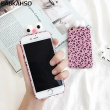 BABKAHSO Funny 3D Big Eyes Full Body Cover Pink Leopard Pattern Cases for iPhone 7 7plus for iPhone 6s 6 Plus Stylish PC Hard