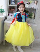 2017 New Hot Sale Snow White Princess Dress with Red Cape and Bow Kids Girl Dresses Party Cosplay Children Clothing Sets Costume
