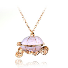 New Design 2016 Brand Film Cinderella Magic Pumpkin Car Pendant Necklace Vintage Cute Style Women Girls Necklace Fashion Jewelry(China)