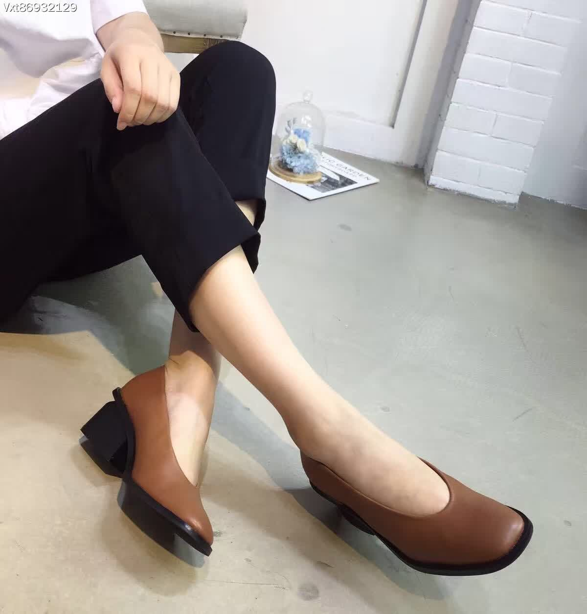 Black Brown Thick High Heel Pumps 5cm Women Loafers Round Toe Original Designer Shoes<br><br>Aliexpress