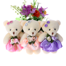 50pcs/lot Baby Girl Plush Toys Flower Bouquets Beaded Teddy Bear Mini Soft Design Wedding Home Decoration Bear Toys