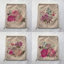 flower print Outdoor Beach Gym Swimming Clothing Shoes Towel Storage Bag Drawstring Backpack