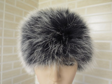 2015 style Braid Real fox fur headband/ scarf / cape     SHIPPING FREE black with white tips hot sale