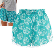 2017 Summer Women Fashion Floral Elastic Waist Cotton Shorts For Female Short Pants Woman Casual Plus Size Beach Casual Shorts