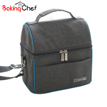 BAKINGCHEF Thickness Denim Lunch Bag Thermal Cooler Waterproof Insulated Portable Tote Food Organizer Accessories Supplies Lots(China)