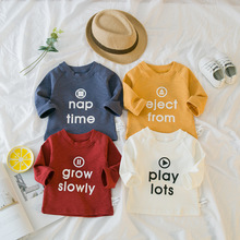 Baby Boy Tshirt With Letter Printing 2018 Brand Children Spring Long Sleeve Tops Girls Clothes Infant T Shirts(China)