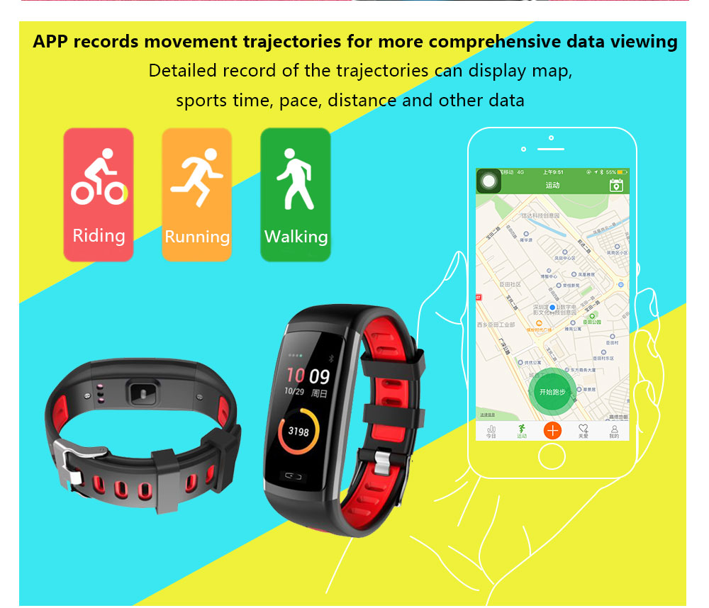 CD09 Smart Wristband Cicret band Watch Heart rate monitor Smartband Pulsometer Sport health Fitness Bracelet tracker for IOS (10)