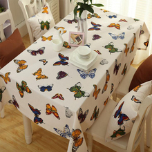 Pastoral Rectangular Tablecloth Cotton Polyester Colorful Butterfly Printed Thick Canvas Table Cloth Home Restaurant Table Cover(China)