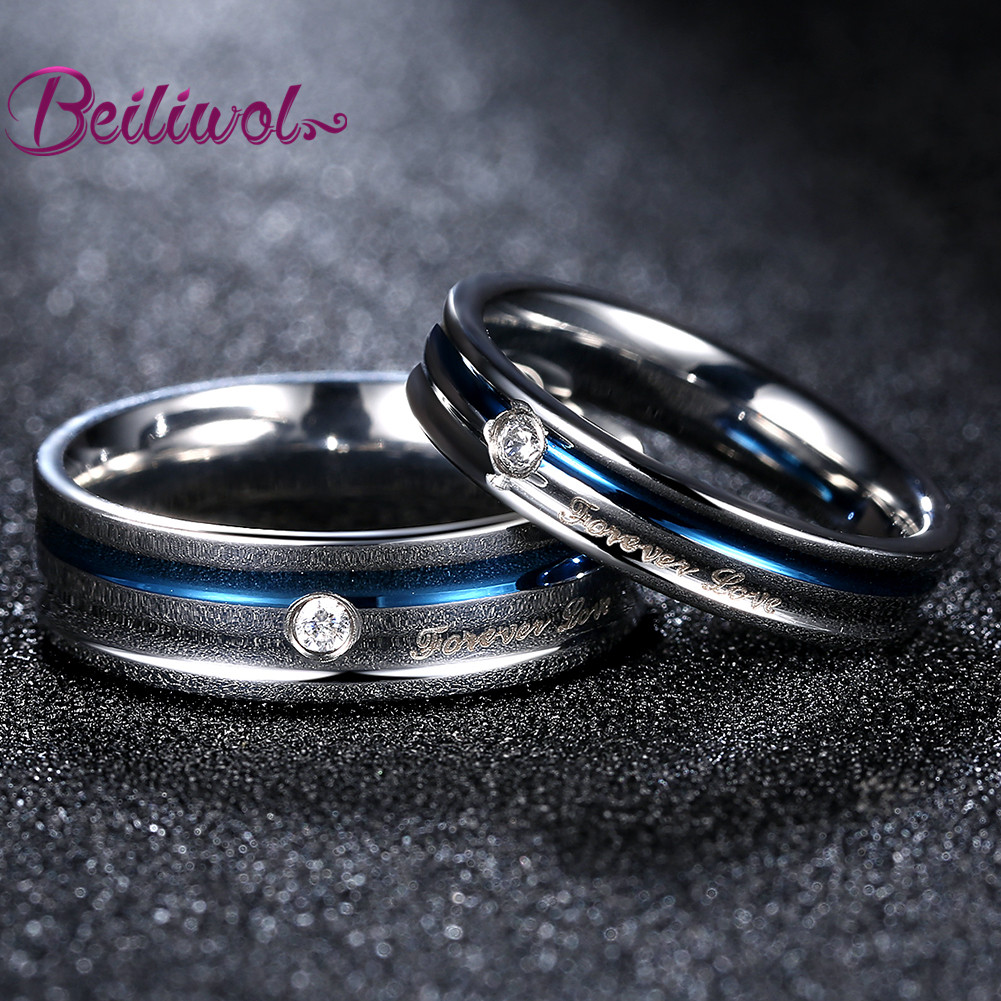 Couple Rings Set For Women Forever Love Blue Stainless Steel Wedding Band  Jewelry Engagement Ring Discounts
