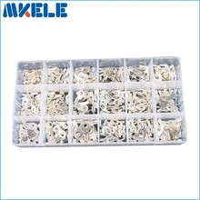 420Pcs/Box 18 type Cold naked terminal Non-Insulated Ring Fork U-type Terminals Assortment Kit Cable Crimp Spade Connector