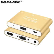 VOXLINK 3 in 1 USB to HDMI VGA +Audio Video Converter Digital AV Adapter For iPhone 6S Plus Ipad Samsung iOS Android Windows(China)