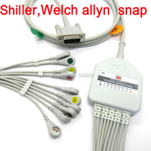 Shiller Welch allyn EKG cable 10 lead ecg cable snap on terminal