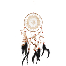 Indian Style Lace Decor Wind Chimes Beautiful Feather Pendant Handmade Craft Window Car Wall Hanging Ornament Supplies(China)