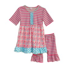 New Arrival Girls Clothes Splice Round Neck Short Sleeve Blouse And Stripe Pattern Pants Children Clothing S065(China)