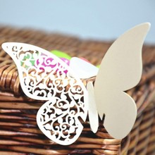 20 Pcs Paper Butterfly Cup Decor Hollow Card DIY White Color Wedding Party Festival Home Table Decoration Supply